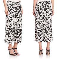 NWT 248  Kate Spade New York Synna Leafy Floral Baggy Pants, Black White.SZ:S