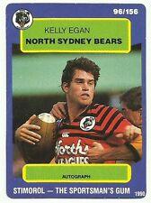 1990 NRL SCANLENS STIMOROL NORTH SYDNEY BEARS KELLY EGAN #96 CARD