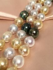 """38""""11-14mm south sea genuine white gold black drop multic round pearl necklace"""