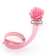 Pink Flower Baby Pacifier Clip