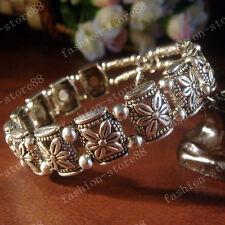 Handmade Fashion Tibetan Silver Bracelets Tibet Flower Design Bangle AAA89