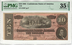1864 $10 CONFEDERATE STATES OF AMERICA NOTE CURRENCY T-68 PMG CH VF 35 EPQ (050)