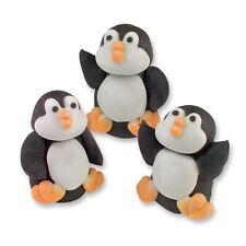 ZUCCHERO Pinguini 3d-Commestibile Zucchero Natale Cupcake Topper/Decorazione Per Torta
