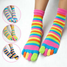 Stylish Colorful Stripes Warm Long Women Cotton Socks Five Fingers Toe Socks