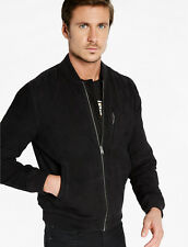 Lucky Brand Men's Soft Suede Leather Bomber Jacket $499 Black NEW L