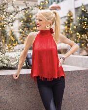 Zara Fringe Red Blouse, NWT, Size XS