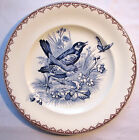 Assiette Art Nouveau Terre de Fer signée J.S. Clairefontaine modèle ETE: Oiseaux