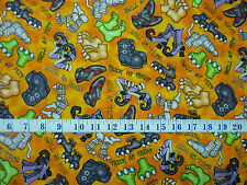 A Haunting We Will Go Monster Feet Orange Cotton Quilting Fabric 1/2 YARD