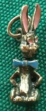 Sterling Silver Enamel Easter Bunny Charm Movable Head Moves