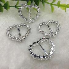 30X Silver Heart Rhinestone Buckle Invitation Ribbon Slider For Wedding Supplies