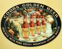 Coors Golden Beer Waterfall Vintage Retro Tin Metal Sign 13 x 16in