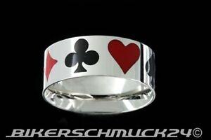 Rockabilly Schmuck Ring Gambler Pik Herz Kreuz Karo Edelstahl Glücksbringer NEU