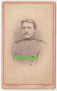 CdV Foto Portrait sächsischer Ulan um 1870 / 71 Dresden (F797