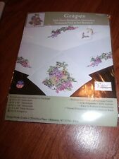 "Tobin Stamped Cross Stitch Embroidery Napkins GRAPES Leaves 17"" Pk of 4"