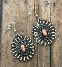 Pink Beaded Burnished Silvertone Floral Oval Concho Earrings