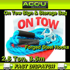 2.5 Tonne 2500kg 3.5m Heavy Duty Car Breakdown Towing Tow Rope + Bag & Tow Sign