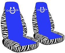 White Zebra Seat Covers with a Medium Blue Center Cowgirl Up