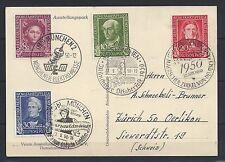 198# BRD Mi 117-120 a. Postkarte mit 4 SoSt 22.9.1950 zu versch. Anlässe