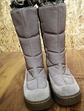NINE WEST Ladies Beige Wedged Calf Length Textile/Leather Winter Boots  UK7 EU40