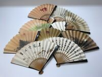 Japanese Folding Hand Fan Vtg Sensu Print Tea Ceremony Miniature 10pc h199