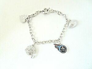 NFL New Tennessee Titans Women's Charm Bracelet with Crystals 7.5 INCHES Long