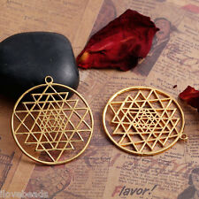 1PC Findings Gold Plated Hollow  Yantra Pendant For Necklace Jewelry