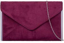 Burgundy Clutch Bag Claret Faux Suede Evening Bag Red Wine Silver Tone Envelope