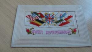 AQ530: Postcard - Silk WW1 Sweet Remembrance - Fabrication Fransaise