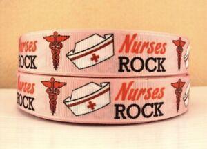 """By The Yard 7/8 Inch Printed """"Nurses Rock""""  Grosgrain Ribbon Lisa"""