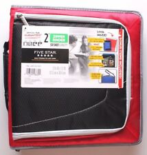 "NEW Five Star Zipper Binder + Tech Pocket, 2"", Red Black, 12-3/4"" x 12"" NWT"