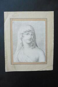 DUTCH SCH. 18thC - NEOCLASSICAL PORTRAIT OF A WOMAN ATTR. VAN DEN BERG - CH'COAL