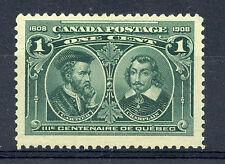 Canada 97i F/VF MNH Hairlines, 1c green 1908 issue, pristine NH OG CV $110