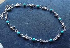 Turquoise Blue Beads Dragonfly Anklet Ankle Bracelet Hippy Boho Festival