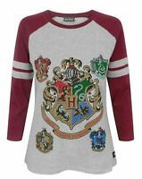 Harry Potter Hogwarts Women's Raglan Long Sleeve Cotton T-Shirt