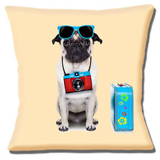 NEW FAWN PUG WEARING SUNGLASSES AND CAMERA WITH SUITCASE 16 Pillow Cushion Cover
