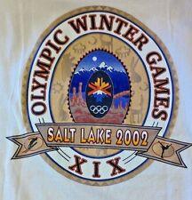 SALT LAKE 2002 T-SHIRT WINTER OLYMPICS BEIGE T-SHIRT SIZE XL 2-SIDED