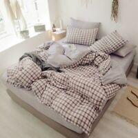 Cotton Duvet Cover Set 4 Pcs Breathable Bedding Set Zipper Cover Bed Sheet