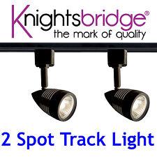 Knightsbridge éclairage sur rail Set Kit 2x Spot GU10 LED Spot Luimière Noire