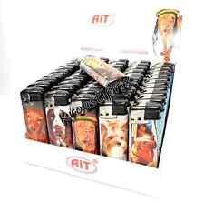 Lot 50 Briquets Rechargeables Haute Qualité Motifs Chiens + 1 Recharge Gaz