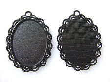 10pcs Large Black Oval Cameo Cabochon Settings 30x40mm Pendant Trays Blanks New
