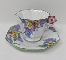 Rare Antique FLOWER HANDLE Bone China MELBA England Teacup & Saucer LILAC TIME