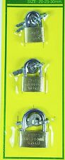 3x Brass Padlock Ideal For Luggage/Suitcase Lock 20/25/30mm With 2 Keys UK POST