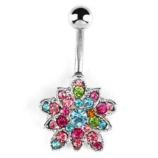 Jewellery Piercing Gypsy Bohemian A181 Crystal Flower Belly Bar Boho Body