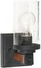 ,1-Light Distressed Black and Wood Arm Wall Sconce Vanity, Bathroom Lighting