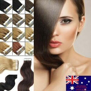"""14""""-22"""" 100G Tape In Real Remy Human Hair Extensions Thick Smooth Skin Weft AU"""