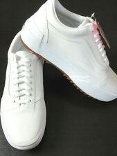 Vans Women's Old Skool Stacked Leather Platform Shoes True White Size 9 NIB