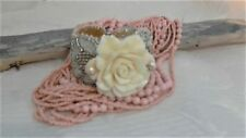 """Wedding Bracelet, Handmade Bead Embroidery, Carved Clam Rose and Pearls, 7.5"""""""