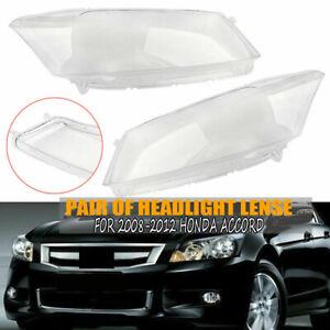 L + R Headlight Cover Headlamp Lens Lenses for 2008-2012 Honda Accord New