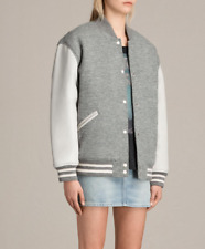 All Saints Base Bomber With Leather Sleeves. Oversized. Grey. Size M
