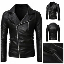 Mens Slim Fit Motorcycle Jacket Faux Leather Outwear Lapel Zipper Biker Casual L
